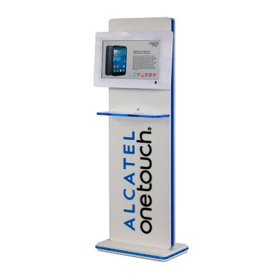 Display interativo Alcatel Onetouch, feito em acrílico, com impressão digital, corte a laser e col...