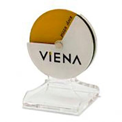 Sinalizador de mesa, desenvolvido exclusivamente para Viena, feito em acrílico, com impressão digita...