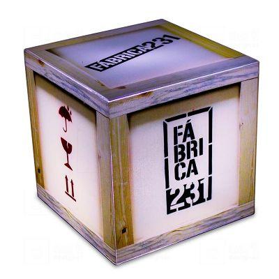Cubo luminoso 20cmx20cm, personalizado para Editora Rocco, com Arte Fábrica 231, feito em acrílico c...