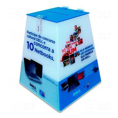 Urna em acrílico cristal 4mm com impressão digital policromia. Evidencie os seus produtos com opções criativas! Desenvolva o seu projeto com a gente