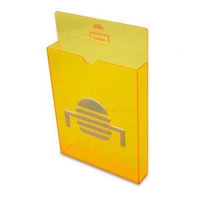 Porta Cardápio Balcão Burguês, feito em acrílico, com impressão digital, corte a laser, dobra e colagem especial. Desenvolva o seu projeto com a gente...