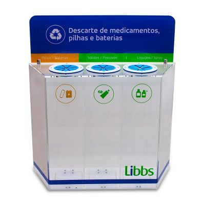Display para descarte de medicamentos, pilhas e baterias desenvolvida exclusivamente para Libbs, fei...