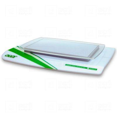 Display para notebook Acer, feito em acrílico branco e cristal, com impressão digital.  Desenvolva...