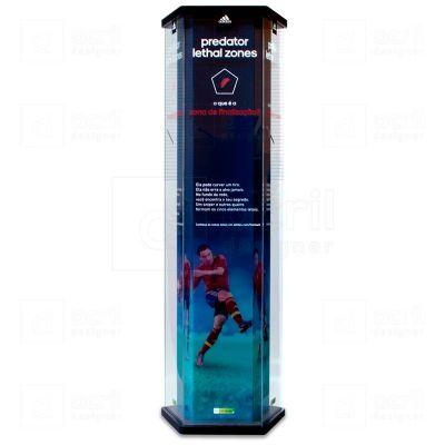Display Luminoso de chão Adidas, feito em acrílico e madeira, com impressão digital, corte a laser,...