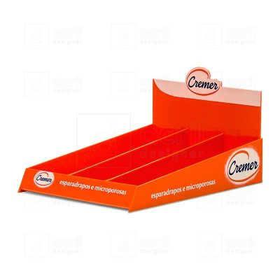 Display expositor desenvolvido exclusivamente para Cremer, feito em acrílico laranja, com impressão...