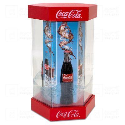 Display de balcão para expor garrafas da Coca-Cola, feito em acrílico, com impressão digital, corte...