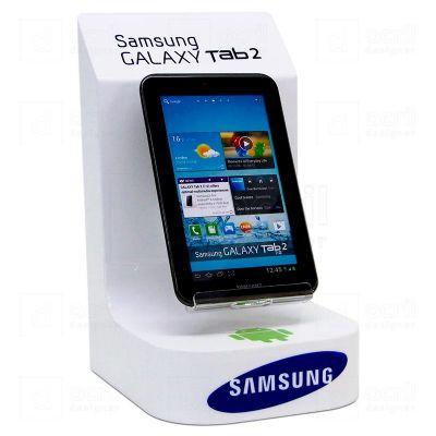 Display expositor de celular em acrílico branco e cristal 3mm, com impressão digital e moldagem especial. Sua marca sempre próxima do cliente! Desenvo...