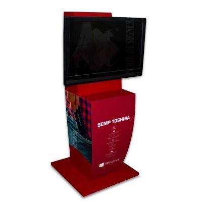 Display de chão para expor computador de bolso Stick PC da Semp Toshiba, feito em MDF e PETG, com im...