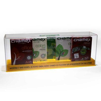 Expositor vitrine em acrilico cristal e color 4mm e 3mm com impressão em silk-screen. Desenvolva o s...