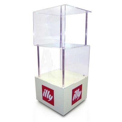 Expositor de chão em acrílico cristal 10mm, MDF branco 12mm. Visibilidade garantida para os seus cli...